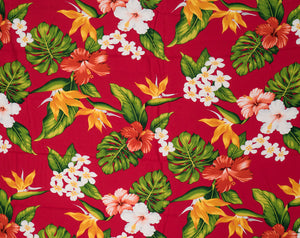 GD-003 Red - TrendtexFabricsBird of Paradise, Hibiscus, Plumeria and Monstera Leaves