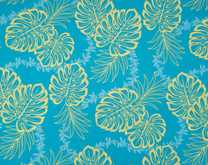 GD-006 Turq - TrendtexFabricsMonstera Leaves over Lei Pattern