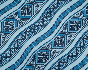 GE-008 Blue - TrendtexFabricsWoodblock Styled Tapa Pattern