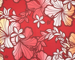GE-018M Red - TrendtexFabricsHibiscus with Plumeria