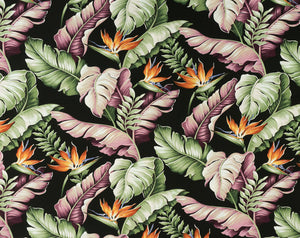 H-9202 Black - TrendtexFabricsBanana Leaves & Bird of Paradise
