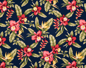 HAU-024 Navy - TrendtexFabricsOrchids and Bird of Paradise with Heliconia
