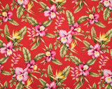 HAU-024 Red - TrendtexFabricsOrchids and Bird of Paradise with Heliconia