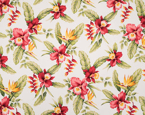 HAU-024 White - TrendtexFabricsOrchids and Bird of Paradise with Heliconia