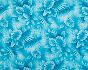 HD-018 Turq - TrendtexFabricsWatercolor Styled Monstera Leaves