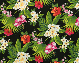 HF-012 Black - TrendtexFabricsPlumeria and Hibiscus Flowers on Leaves