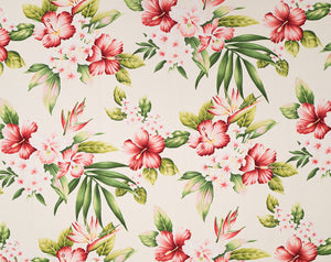 HF-020 Cream - TrendtexFabricsHibiscus with Plumeria and Bird of Paradise
