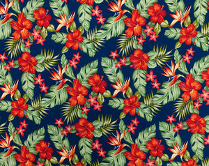 HMA-019 Royal (Rayon) - TrendtexFabrics Hibiscus and Plumeria over Leaves