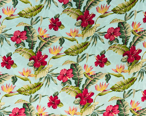 HS-021 Aqua - TrendtexFabricsHibiscus and Bird of Paradise