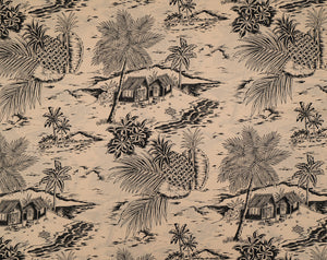 HTPG-1046 Beige - TrendtexFabricsScenic with Palm Trees, Shacks, and Pineapples