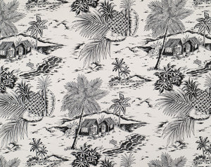 HTPG-1046 Cream/Black - TrendtexFabricsScenic with Palm Trees, Shacks, and Pineapples