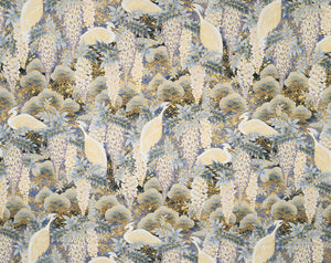 GD-004 Blue - TrendtexFabrics Japanese Crane with Gold Metallic Accents.