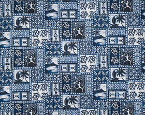 EH-20361R Blue - TrendtexFabricsPetroglyphs of Paddlers and Honu.