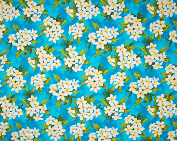 EH-F247R Turquoise - TrendtexFabricsClustered plumeria and leaves over a water color wash ground.