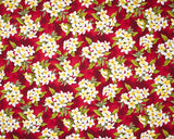EH-F247R Red - TrendtexFabricsClustered plumeria and leaves over a water color wash ground.
