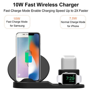 Wireless Charger Stand for iPhone AirPods Apple Watch, Charge Dock Station Charger for Apple Watch Series 4/3/2/1 iPhone X 8 XS - SmartwarePro