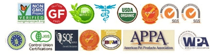 Natura Petz Organics certifications for dog and cat supplements and wellness remedies
