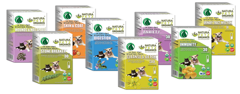 Pet Age Features Starter Packs by Natura Petz Organics for dogs and cats conditional needs