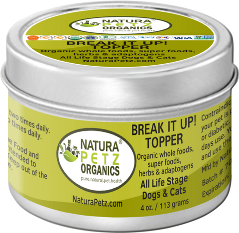 Natura Petz Organics Best Seller Break It Up Meal Topper Stone Eliminator for dogs and cats