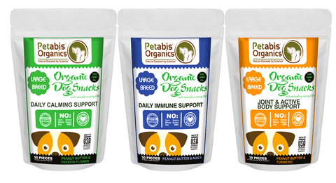 Petabis Organics Organic CBD Dog Snacks with Adaptogen Herbs Large Breed 5 mg - 3 Delicious Varieties