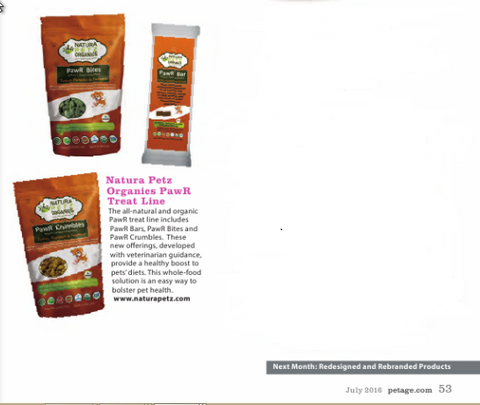 Pet Age Magazine July 2016 Stock Room Features Natura Petz Organics PawR Treat Line