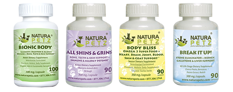 Natura Petz Organics pet supplements, super foods, treats, foods, meal mixers and starter packs for dogs and cats