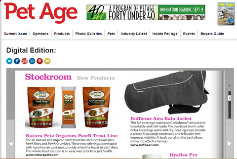 Pet Age features Natura Petz Organics PawR Bars and Pawr Bites for Dogs