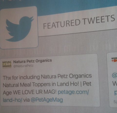 Pet Age magazine favorites Natura Petz Organics tweet in June 2016 magazine