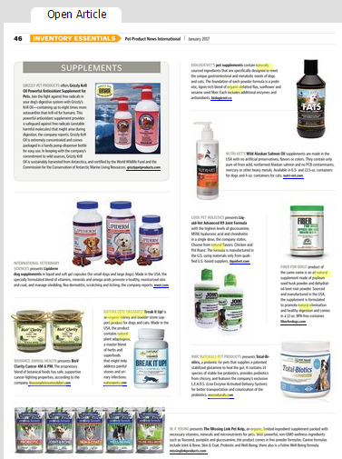 Pet Product News Features Break It Up Inventory Essentials by Natura Petz Organics