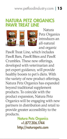 Pet Food Industry Features Organic PawR Bars Organic PawR Bites for Dogs