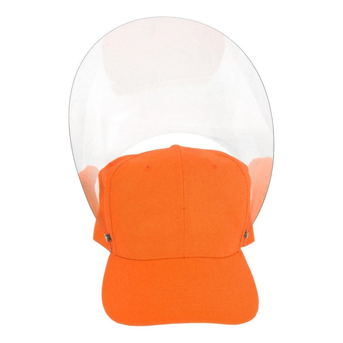 Gorra Con Careta Protectora Facial Abatible Acrilico Adulto Color Naranja
