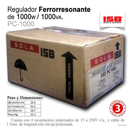 Regulador Sola Basic Ferroresonante Pc 1000 1000va 4 Cont /v