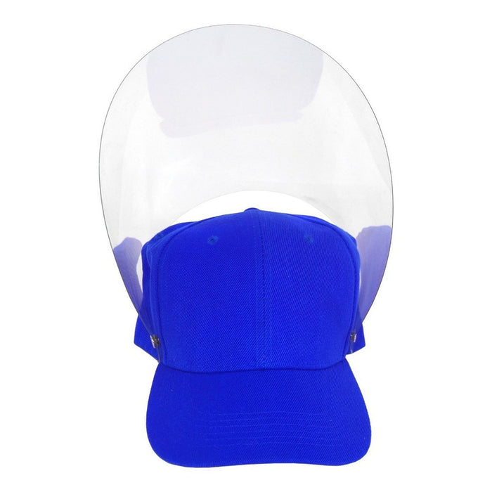 Gorra Con Careta Protectora Facial Abatible Acrilico Adulto Color Azul Rey