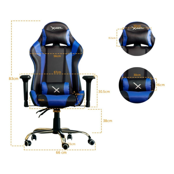 Silla Gamer Ergonomica Reclinable 200kg Xzeal Gaming Styl Color Azul