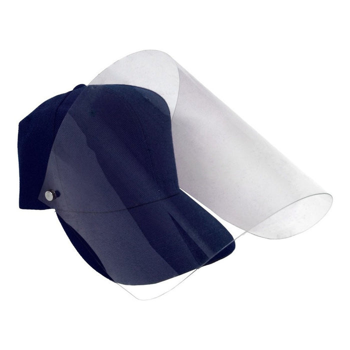 Gorra Con Careta Protectora Facial Abatible Acrilico Adulto Color Azul Marino