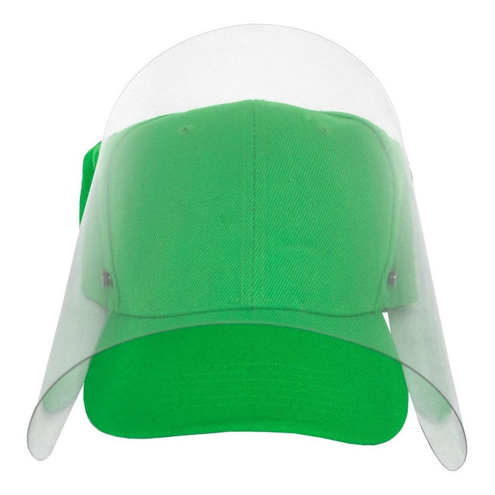 Gorra Con Careta Protectora Facial Abatible Acrilico Adulto Color Verde Limon