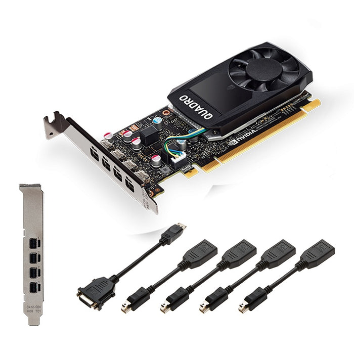Tarjeta de Video PNY NVIDIA Quadro P1000 V2, 4GB 128-bit GDDR5, PCI Express x16 3.0 - incluye 4 adaptadores Mini Display