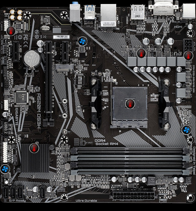 Tarjeta Madre Gigabyte Micro ATX A520M DS3H (REV. 1.0), S-AM4, AMD A520, HDMI, 128GB DDR4 para AMD