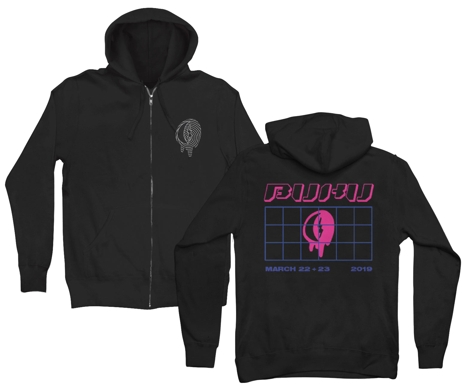 BLACK GRID ZIP UP HOODIE