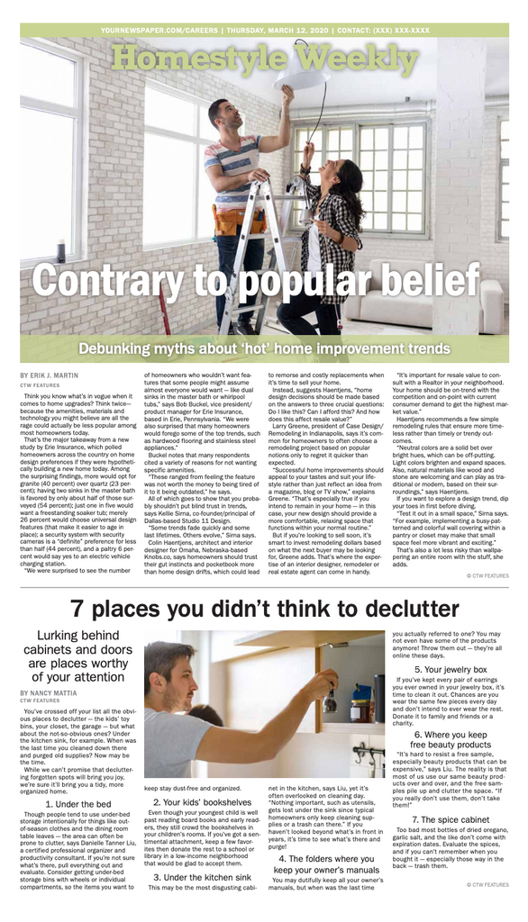 HomeStyle Weekly: Contrary to Popular Belief