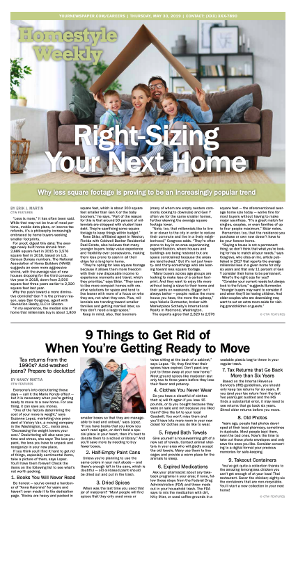 Homestyle Weekly: Right-Sizing Your Next Home