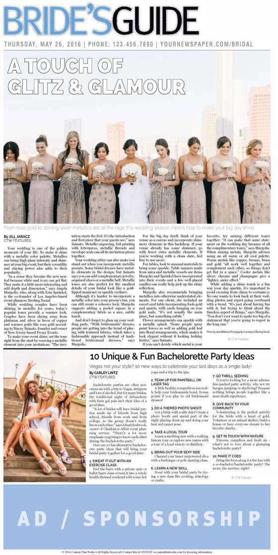 Bride's Guide Weekly: Glamour Weddings & Fun Bachelorette Party Ideas