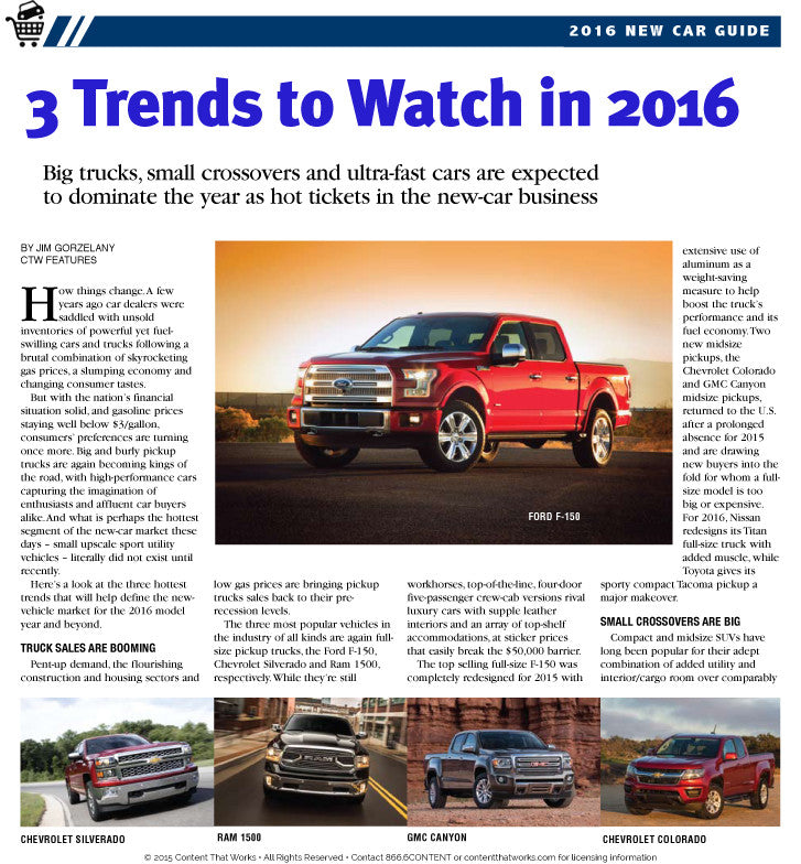 New Car Guide: 2016 Model Year