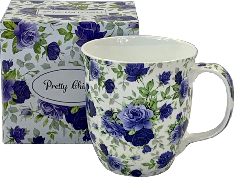 Pretty Chintzy Dark Blue Roses Java Mug