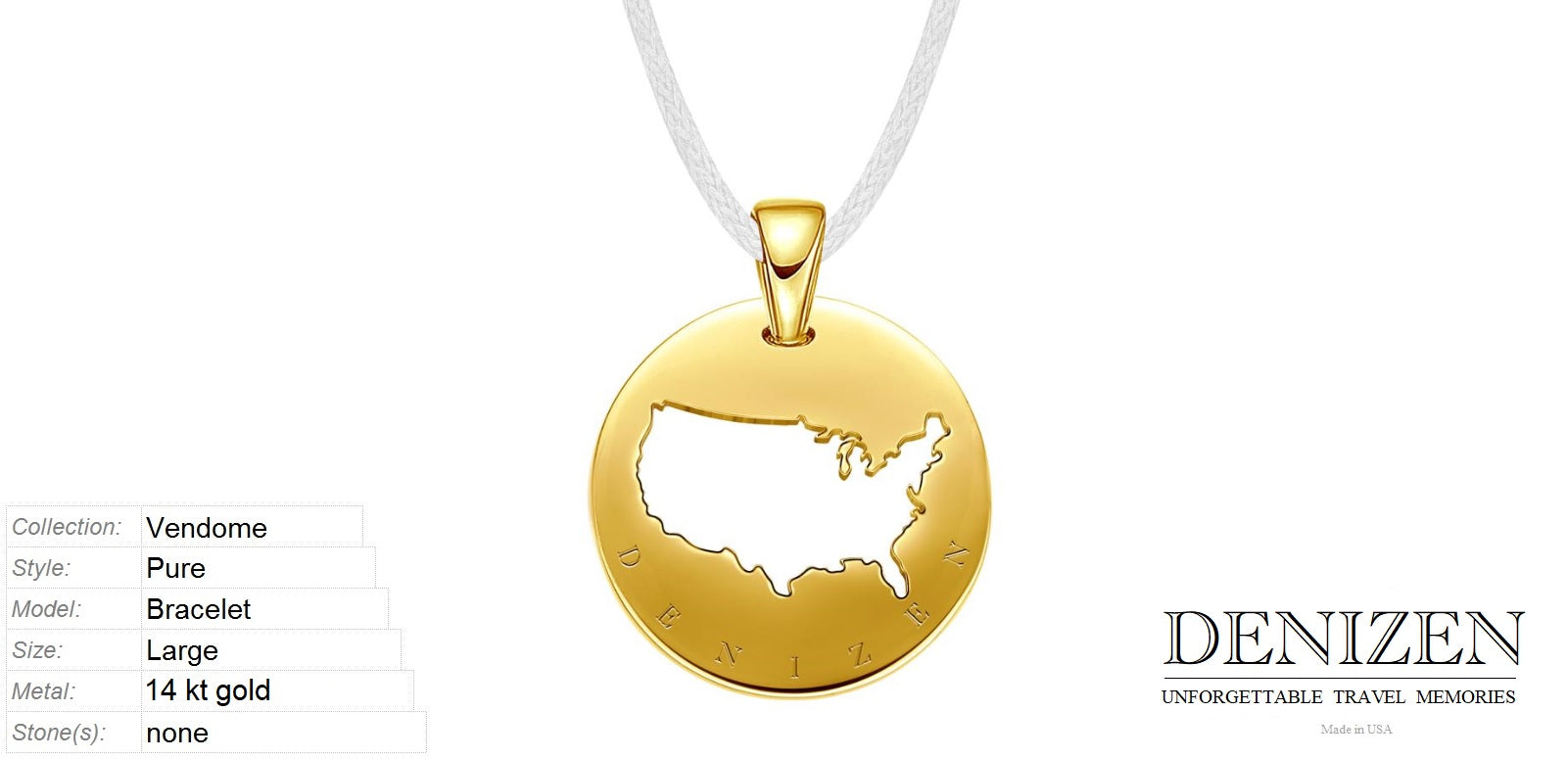DENIZEN Jewelry necklace in 14kt gold motif of USA