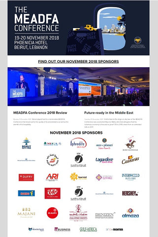 DENIZEN WORLD participant in list of sponsors of TFWA - MEADFA conference for the launching of DENIZEN bracelet of Lebanon at Beirut Duty Free