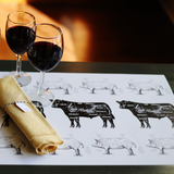Placemat - Black Cow Meat Cut (Qty 20)
