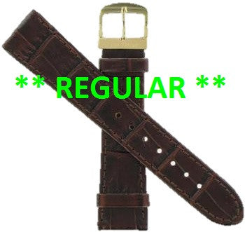 BAND ONLY: Citizen Watch Band Crocodile Dark Brown Leather 19MM Part # 59-S51343