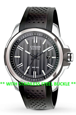 BAND ONLY: Citizen Watch Band Black Polyurethane W/ Silver Buckle Part # 59-S52587