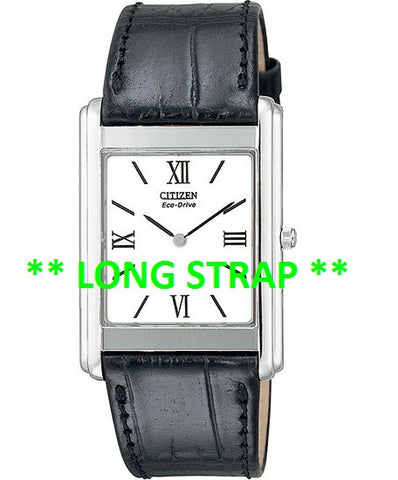 ** LONG ** BAND ONLY: Citizen Watch Strap  Black Leather 21MM Part # 59-T50051LS